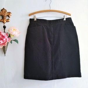 Black Stretch Corduroy Knee Length Skirt